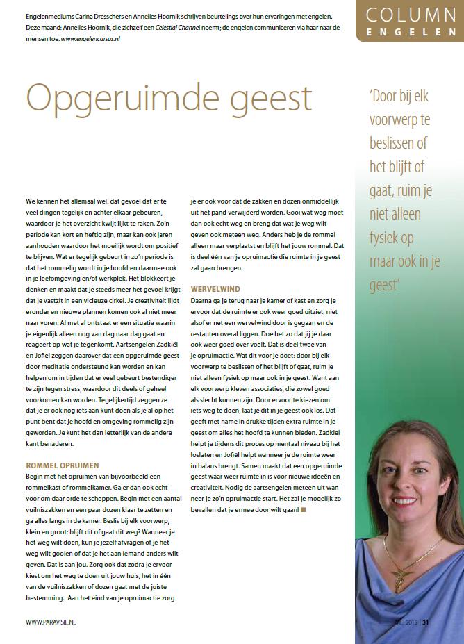 Engelen column paravisie mei 2015 Annelies Hoornik