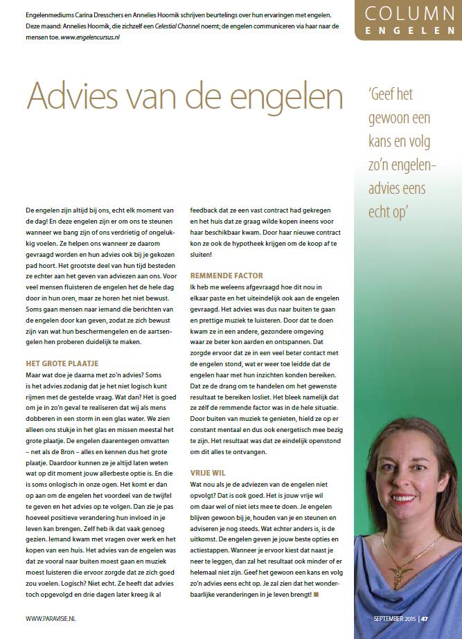 Engelen column paravisie september 2015 Annelies Hoornik