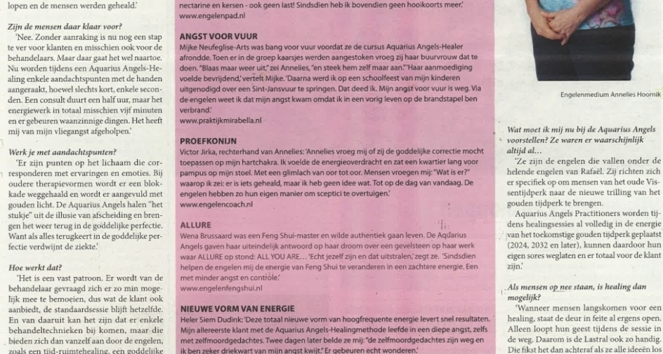 Artikel in Frontier Magazine over Aquarius Angels
