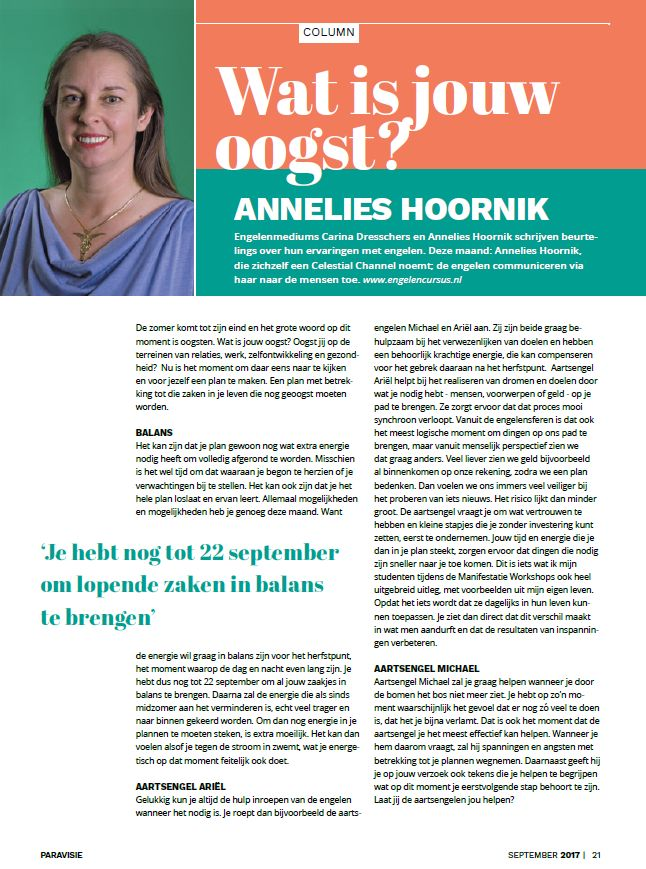Paravisie column Annelies Hoornik september 2017