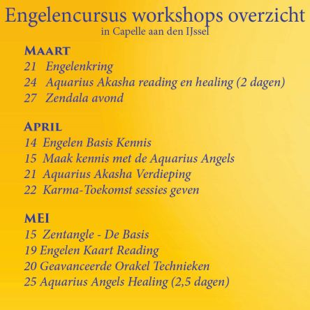 Engelencursus workshops in maart en april en mei 2018