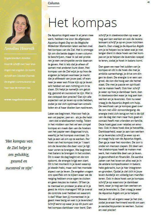 Annelies Hoornik Paravisie Engelen column het kompas