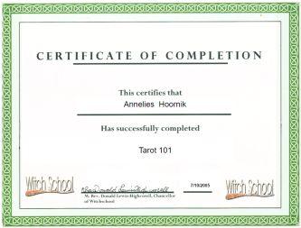 Tarot 101 certificate