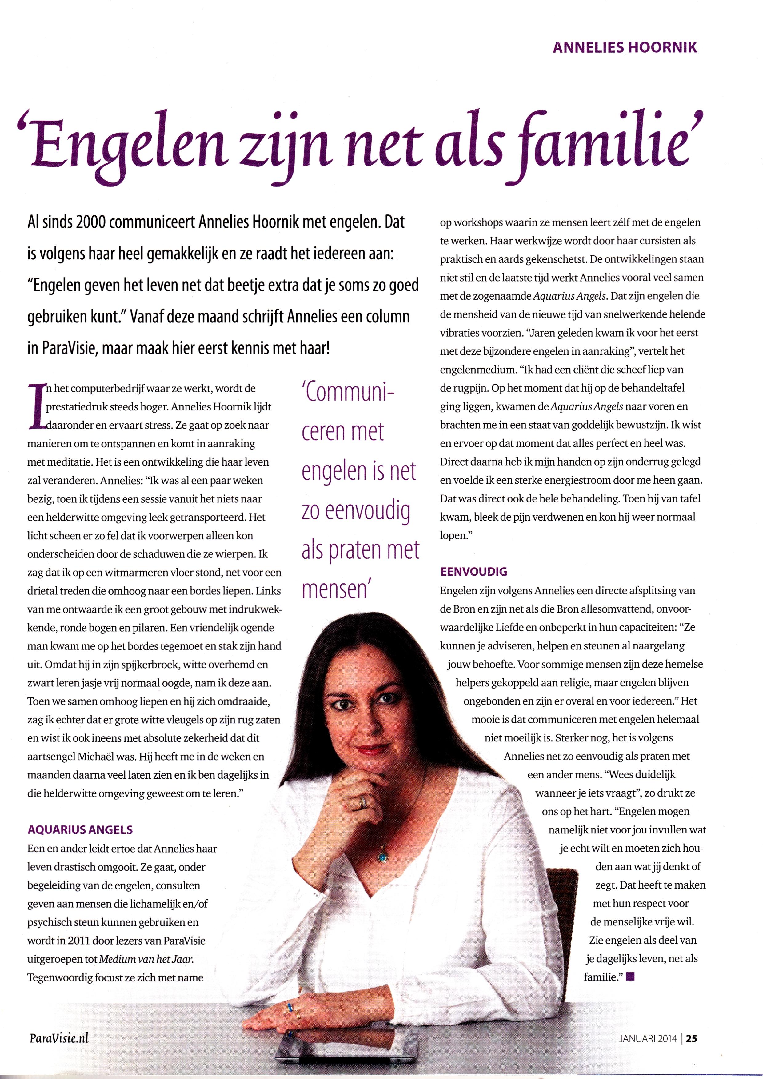Paravisie engelen column Annelies Hoornik