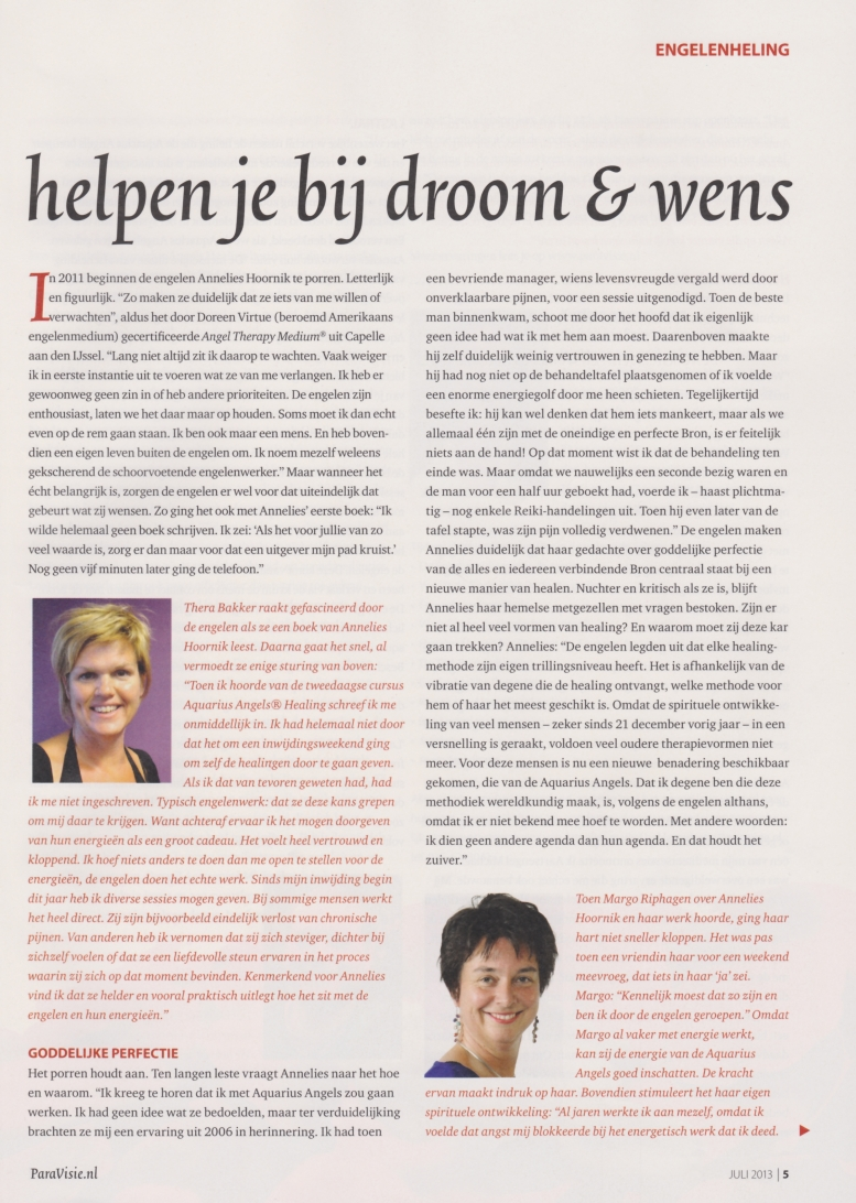 Artikel in Paravisie over Aquarius Angels