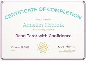 Read Tarot with Confidence certificate Annelies Hoornik